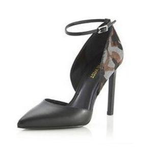 NINE WEST Gray Camo Calf-Half Ankle Strap Heels